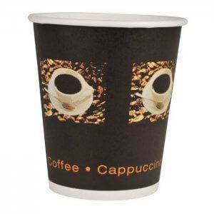 Kaffebæger sort med grafik - 24 cl