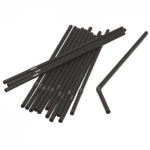 Sugerør - sort - med knæk - 24 cm