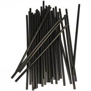Sugerør - sort - uden knæk - 25 cm