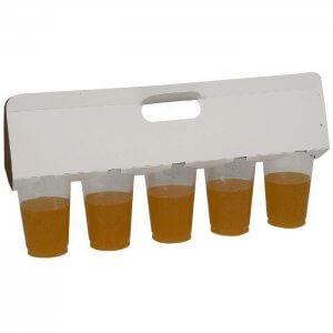 Bærehåndtag til 5 stk. ølglas - hvid