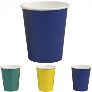Kaffebæger papkrus - flerfarvet - grøn- gul - blå - 24 cl