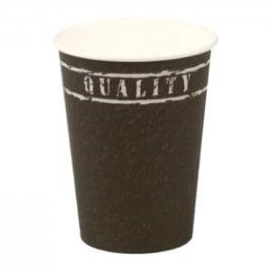 Kaffebæger med Quality grafik - sort - 30 cl