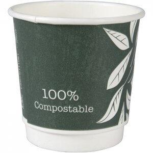 Double Wall papkrus - espresso - bionedbrydelig - Green Leaves - 10 cl