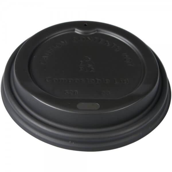 Drikkelåg til kaffebæger - komposterbar - sort - Ø 9 cm